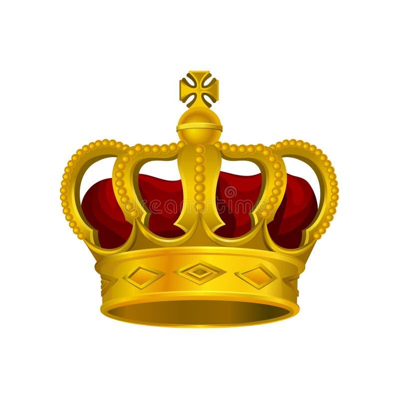 Corona dorata del monarca con velluto rosso ed incrocio sulla cima Accessorio capo prezioso di re o della regina Disegno luminoso illustrazione di stock