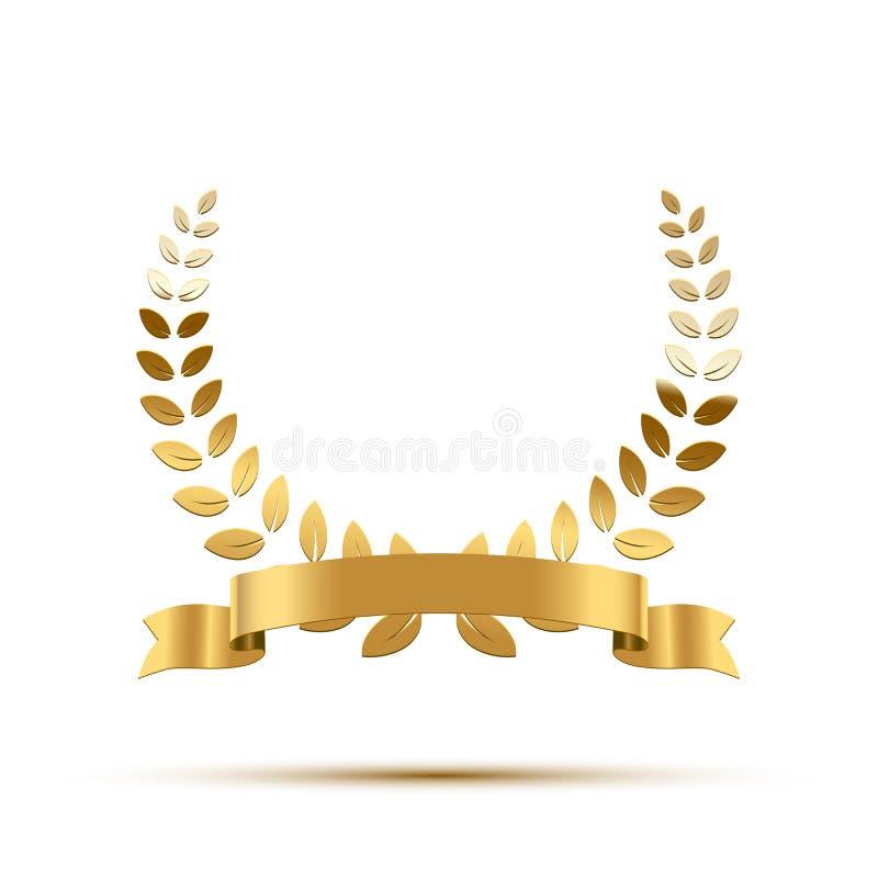 Corona dorata dell'alloro con il nastro Elemento di lusso di progettazione di vettore illustrazione di stock
