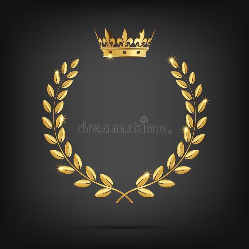 Corona dorata dell'alloro di vettore con la corona su fondo nero illustrazione di stock