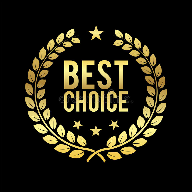 Corona dorata dell'alloro Migliore premio choice Etichetta dorata Trofeo per la sfida Illustrazione di vettore di affari illustrazione di stock