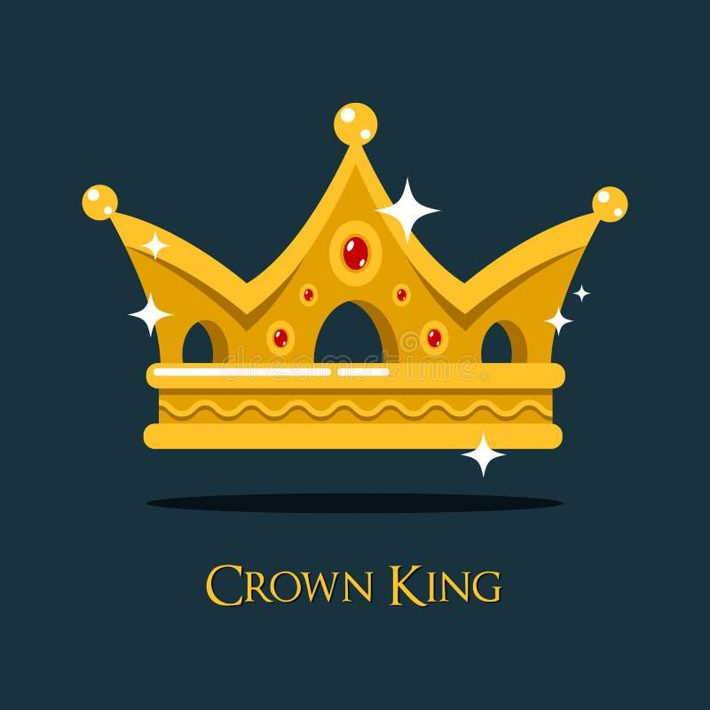 Corona dorata o cresta di re brillante di lampeggiamento illustrazione di stock