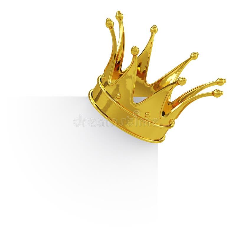 Corona dorata sul bordo in bianco illustrazione vettoriale