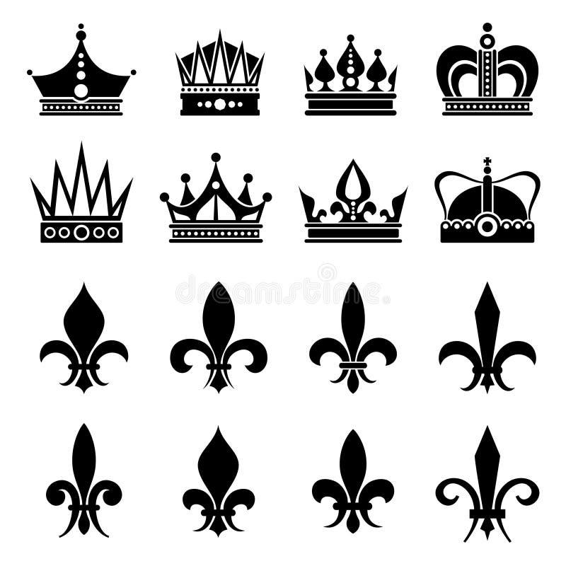 Corona e giglio araldico, icone dei fiori del giglio illustrazione vettoriale