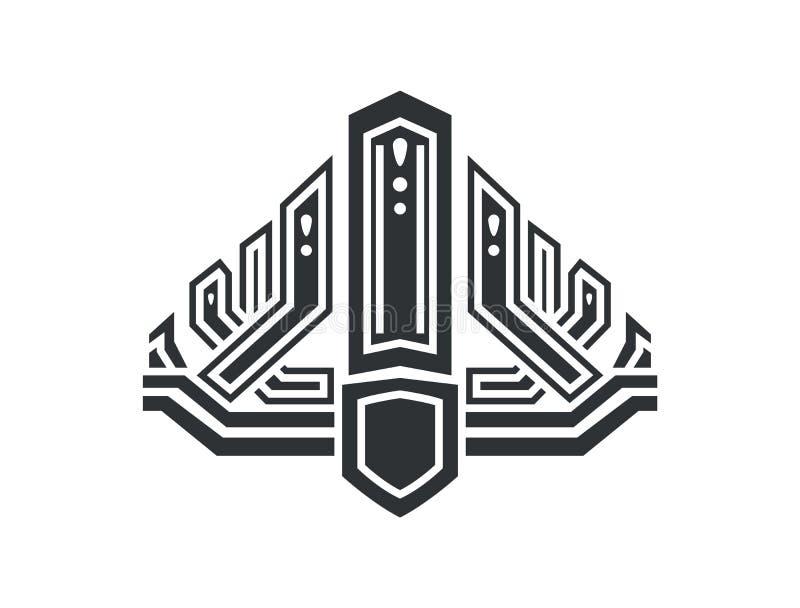 Corona en estilo futurista con diseño complicado ilustración del vector