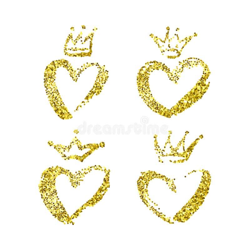 Corona exhausta de la mano e icono del corazón fijado en color amarillo Coronas del cepillo de la tinta, iconos de los corazones libre illustration