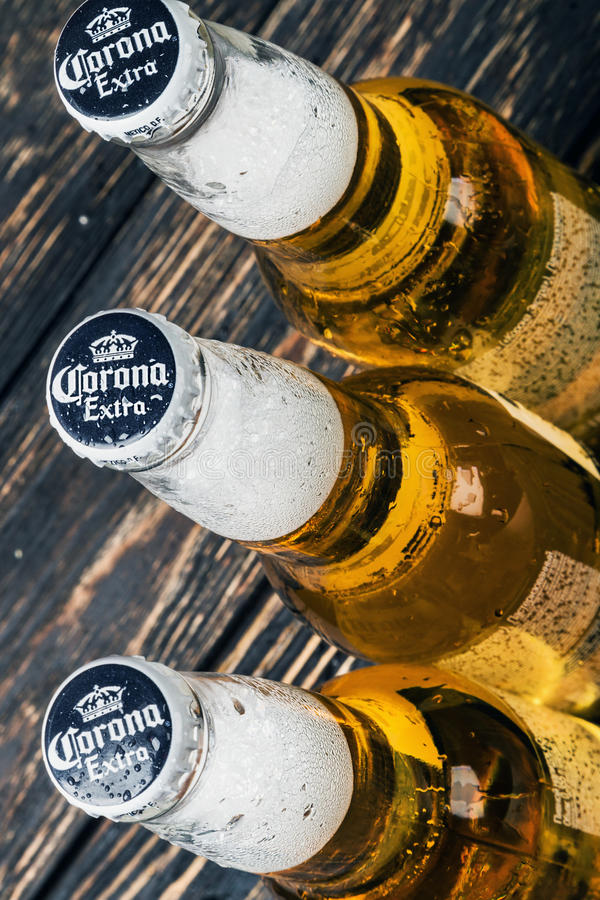Corona extra beer global brand. Moscow, RUSSIA - April 6, 2017: Corona extra beer global brand. Corona extra Lager Beer is the flagship product of the Mexican royalty free stock images