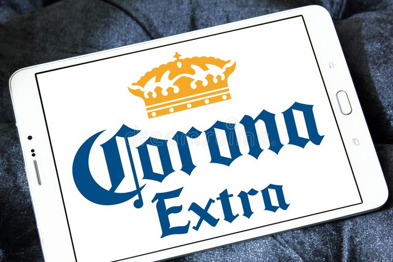 Corona extra beer logo. Logo of Corona extra beer on samsung tablet. Corona Extra is a pale lager produced by Cervecería Modelo in Mexico for domestic royalty free stock images