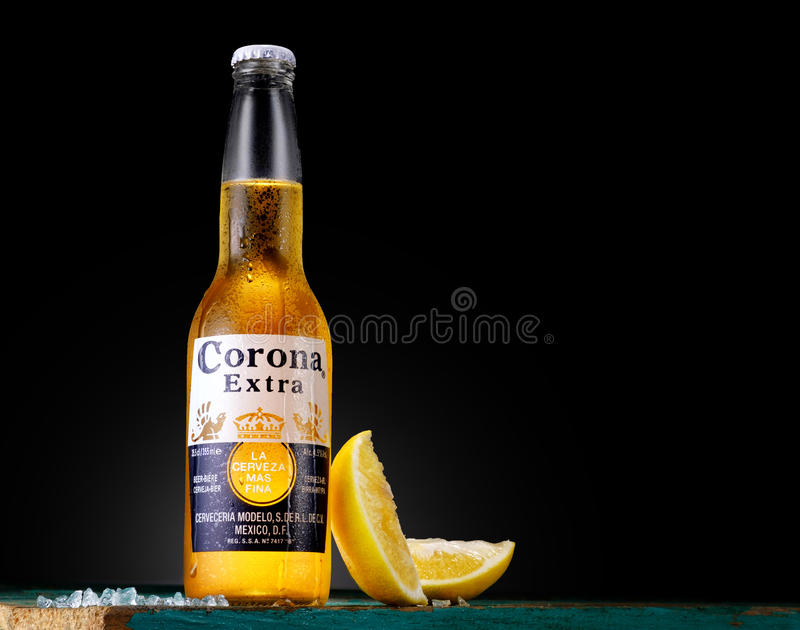 Corona Extra, one of the top-selling beers worldwide. MISNK, BELARUS - OCTOBER 25, 2016: Bottle of Corona Extra beer, one of the top-selling beers worldwide is a stock photos