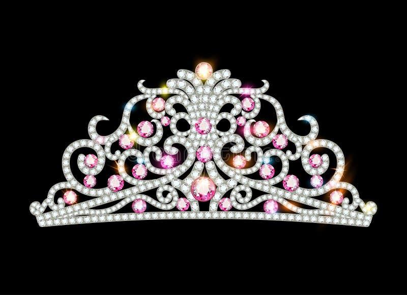 corona femenina de la diadema rosada con las joyas ilustración del vector