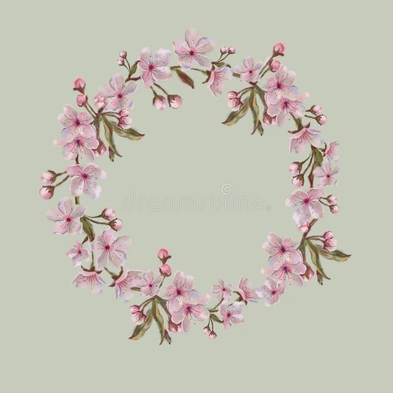 Corona floreale, acquerello dipinto a mano Fondo della calce Per il biglietto di S. Valentino, Giorno del ` s della madre, di Pas illustrazione di stock