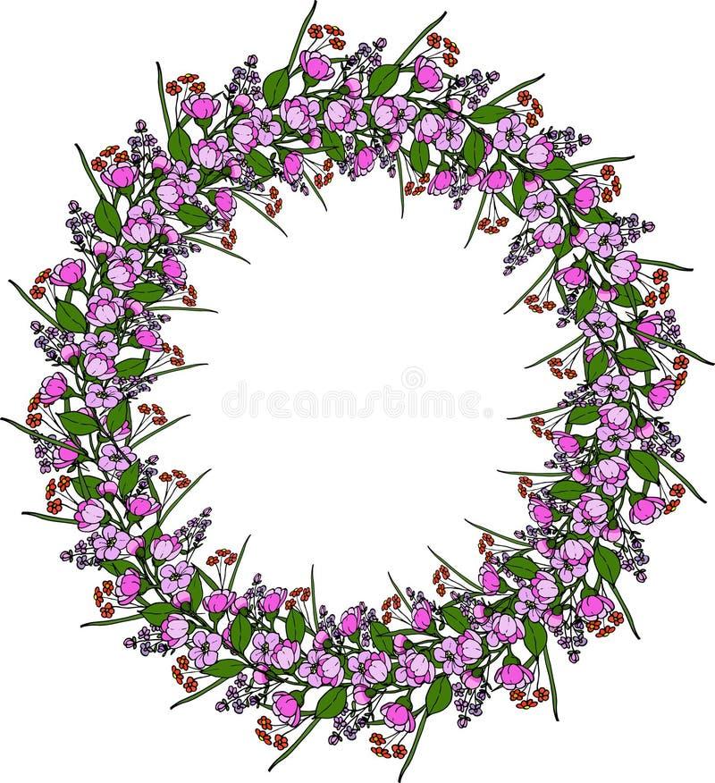 Corona floreale con la fioritura della mela illustrazione vettoriale