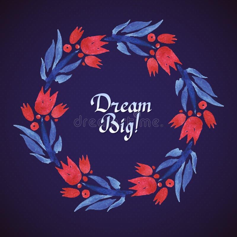 Corona floreale del grande acquerello di sogno con il taglio della carta royalty illustrazione gratis