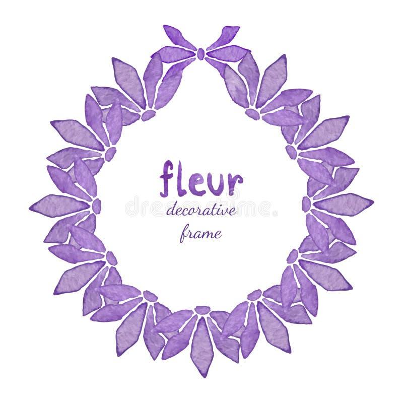 Corona floreale dell'acquerello con il fiore lilla Invito, fondo della cartolina d'auguri royalty illustrazione gratis