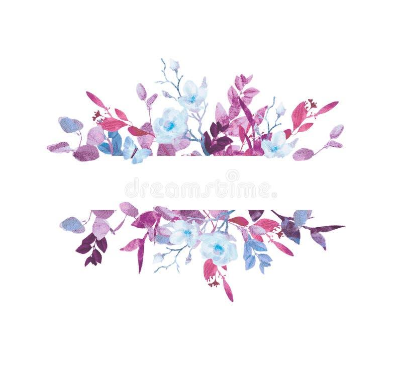 Corona floreale dell'acquerello dipinto a mano su fondo bianco Corona, struttura floreale, fiori dell'acquerello, peonie e rose, illustrazione vettoriale