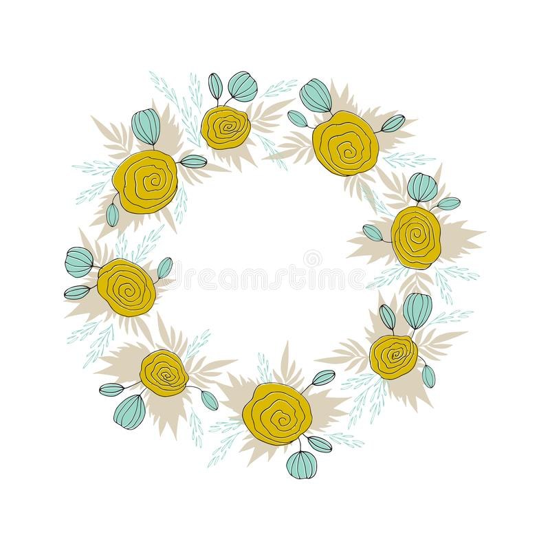 Corona floreale dell'alga di vettore illustrazione di stock