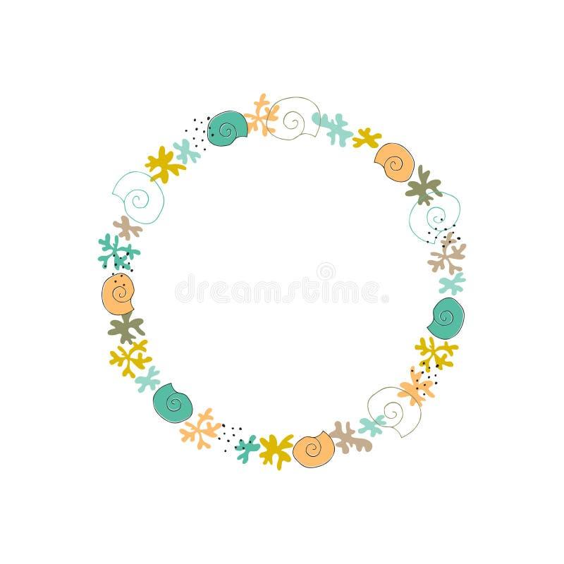 Corona floreale dell'alga di vettore illustrazione vettoriale