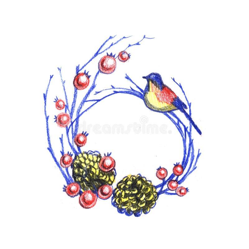 Corona floreale dell'annata di Natale, decorazione del nuovo anno con gli uccelli di inverno, rami del pino, bacche, coni di abet illustrazione di stock
