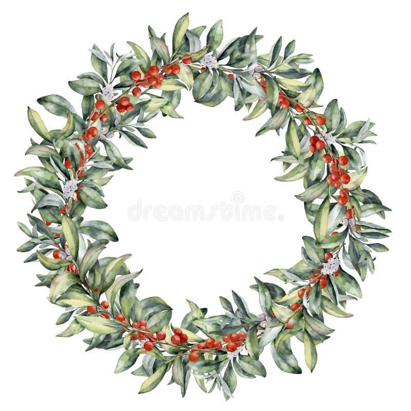 Corona floreale di inverno dell'acquerello con le bacche Ramo dipinto a mano dello snowberry con la bacca bianca e rossa isolata  royalty illustrazione gratis