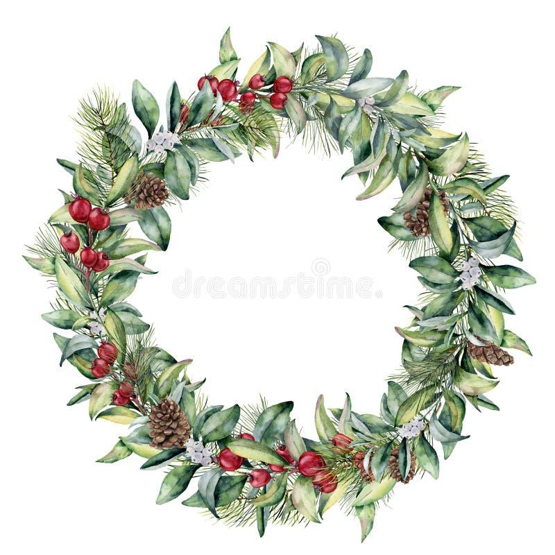 Corona floreale di inverno dell'acquerello Rami dipinti a mano dell'abete e dello snowberry, bacche rosse con le foglie, pigna is illustrazione vettoriale