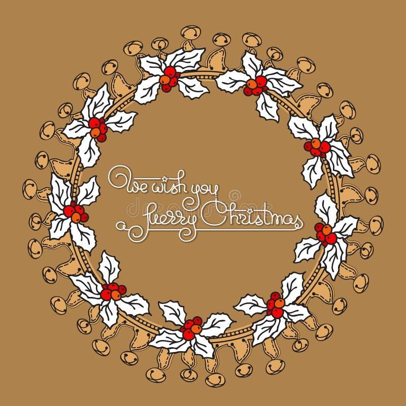 Corona floreale di Natale con la bacca dell'agrifoglio royalty illustrazione gratis