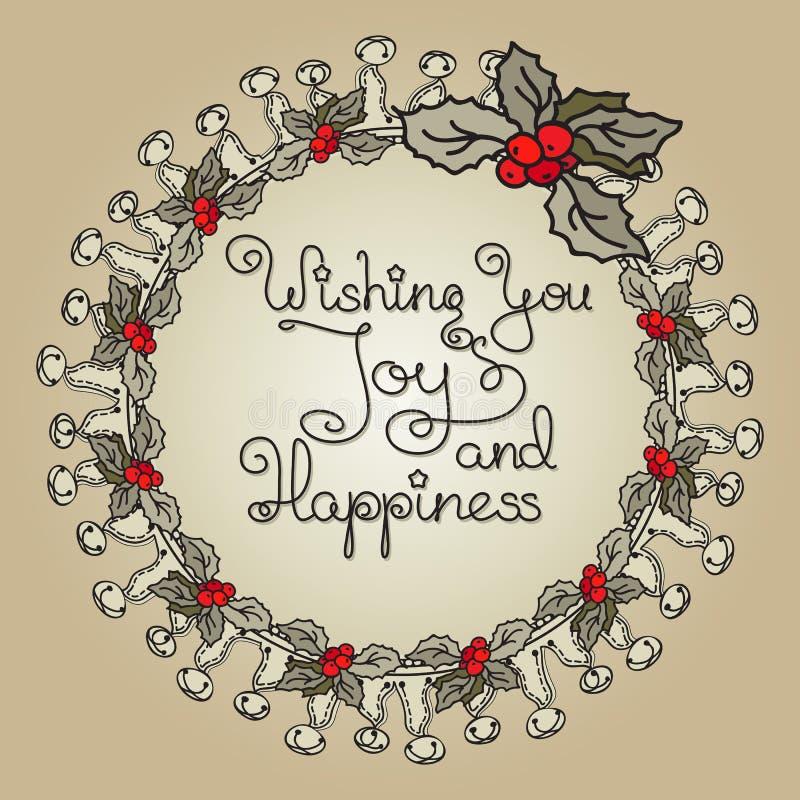 Corona floreale di Natale con la bacca dell'agrifoglio illustrazione di stock