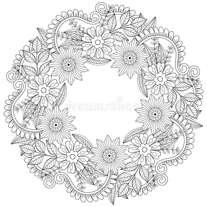 Corona floreale di scarabocchi nello stile dello zentangle Struttura mA del cerchio di vettore illustrazione di stock