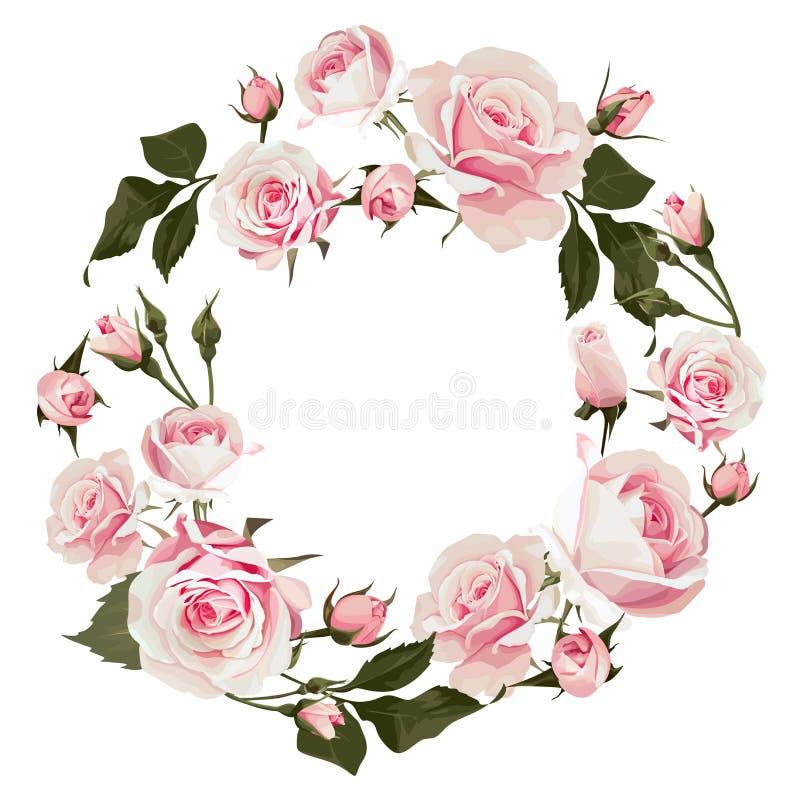 Corona floreale di vettore con le rose Struttura fiorita con i fiori rosa per il giorno delle nozze o il giorno di biglietti di S illustrazione vettoriale
