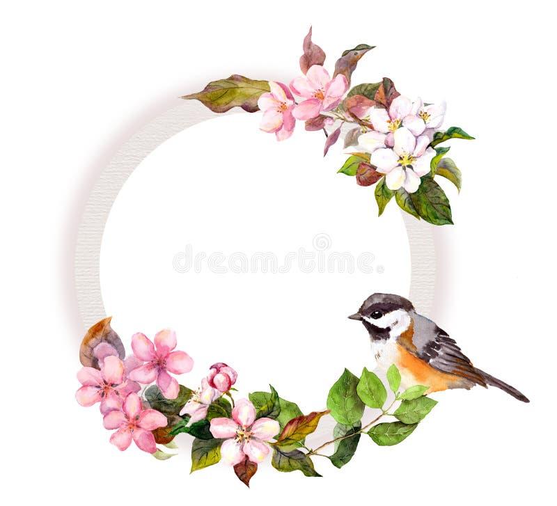 Corona floreale - fiori ed uccello Confine rotondo dell'acquerello illustrazione di stock