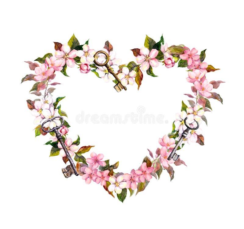 Corona floreale - forma del cuore Fiori rosa di sakura, chiavi Acquerello per il giorno di S. Valentino, nozze illustrazione vettoriale