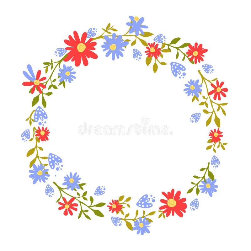 Corona floreale, struttura disegnata a mano con il posto per testo La natura ha ispirato la ghirlanda con i fiori rossi e blu Dis illustrazione vettoriale