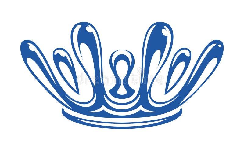 Corona formada por descensos del chapoteo del agua ilustración del vector