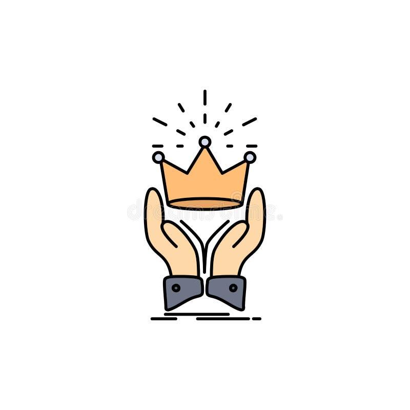 Corona, honor, rey, mercado, vector plano real del icono del color ilustración del vector