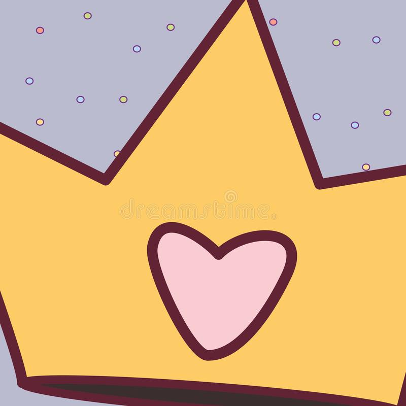 Corona linda de la reina con el coraz?n stock de ilustración