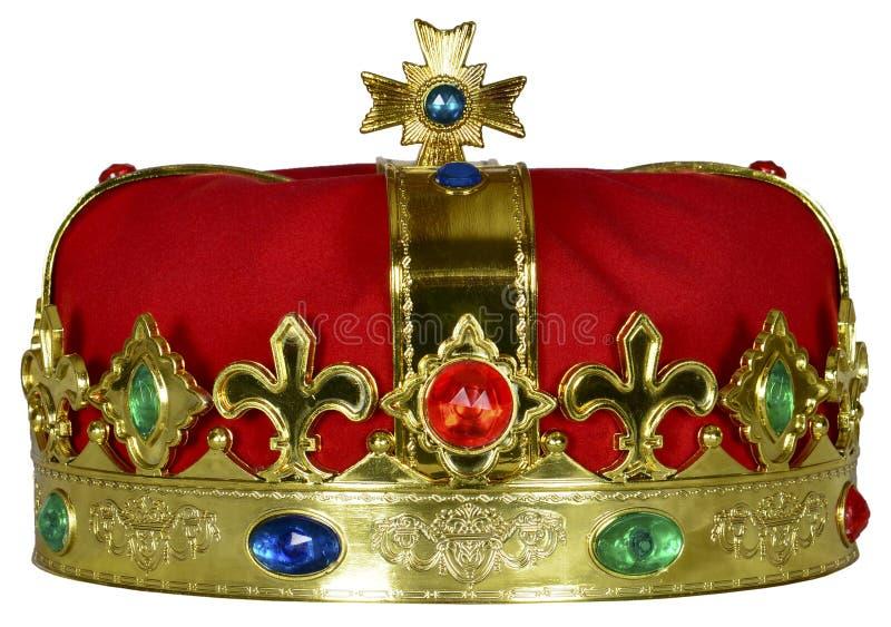 Corona real del rey o de la reina con las joyas aisladas imágenes de archivo libres de regalías