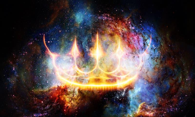 Corona real en espacio c?smico Corona ligera stock de ilustración