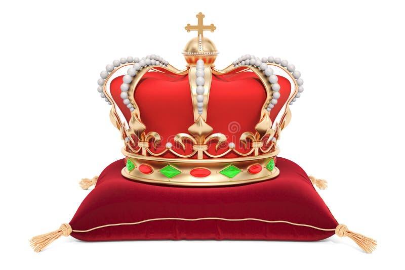 Corona real en la almohada roja del terciopelo, representación 3D stock de ilustración