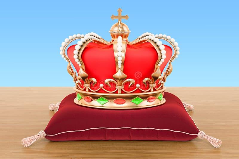 Corona real en la almohada roja del terciopelo en la tabla de madera 3d ren ilustración del vector