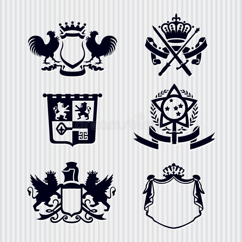 Corona reale dello schermo del medaglione della cresta di vettore illustrazione di stock
