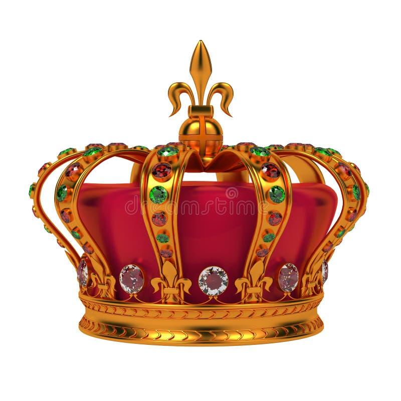 Corona reale dorata isolata su bianco. royalty illustrazione gratis