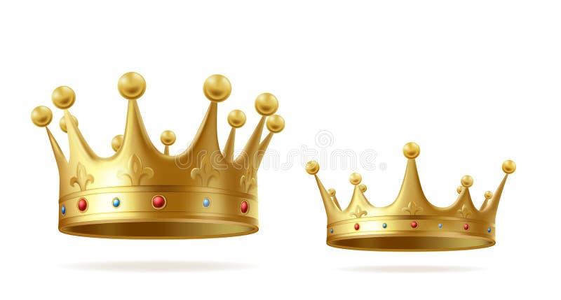 Corona realista de oro del rey o de la reina fijada con las gemas ilustración del vector