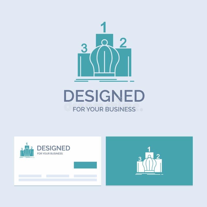 Corona, rey, dirección, monarquía, negocio real Logo Glyph Icon Symbol para su negocio Tarjetas de visita de la turquesa con marc libre illustration