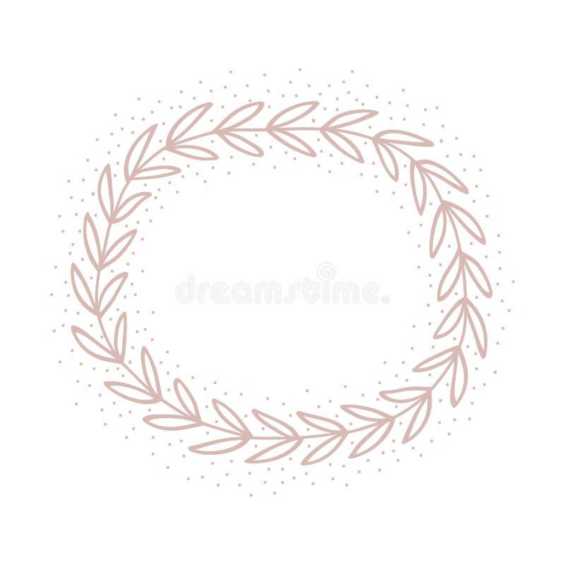 Corona rosa disegnata a mano Carta sveglia pastello Invito romantico royalty illustrazione gratis