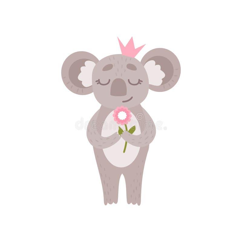 Corona rosa sveglia di principessa Koala Bear Wearing che sta con il fiore, Grey Animal Character Vector umanizzato divertente illustrazione vettoriale