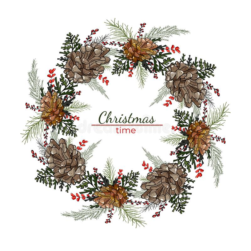 Corona rotonda di Natale con i coni ed i rami del pino royalty illustrazione gratis