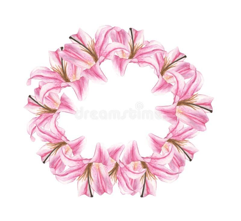 Corona rotonda dipinta a mano dell'acquerello con il giglio rosa Invito di cerimonia nuziale royalty illustrazione gratis