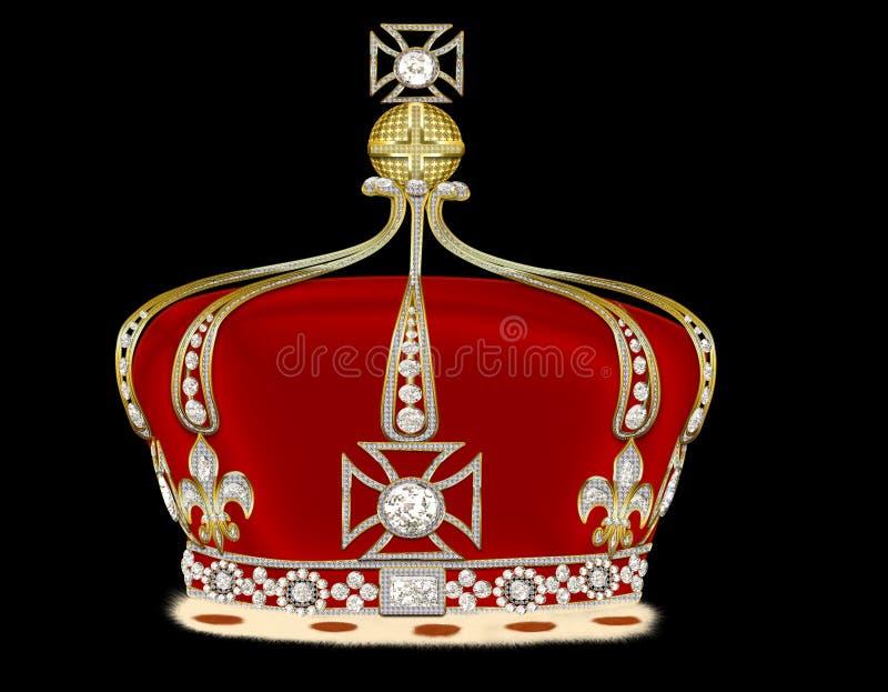Corona royale d'or sur le fond noir illustration libre de droits