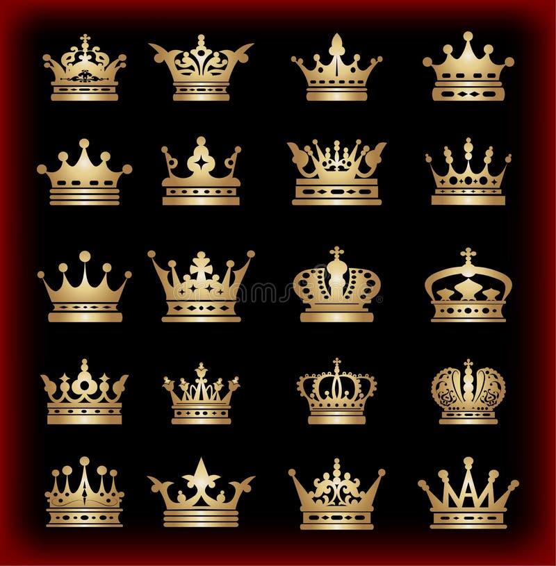 Corona. Sistema grande. Iconos de la colección. Vector. Vintage ilustración del vector