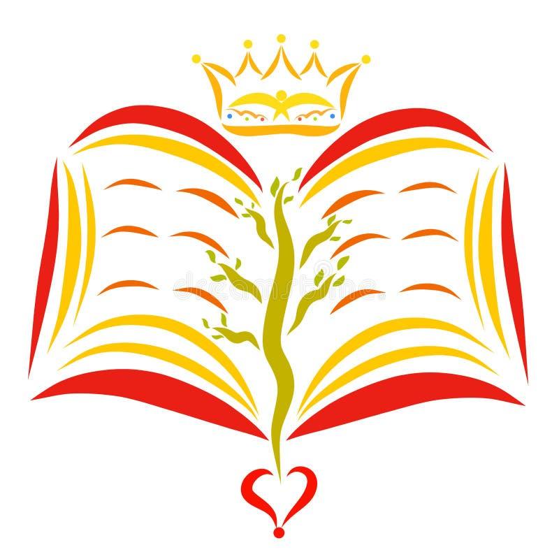 Corona sopra un libro aperto con un albero alle pagine illustrazione vettoriale