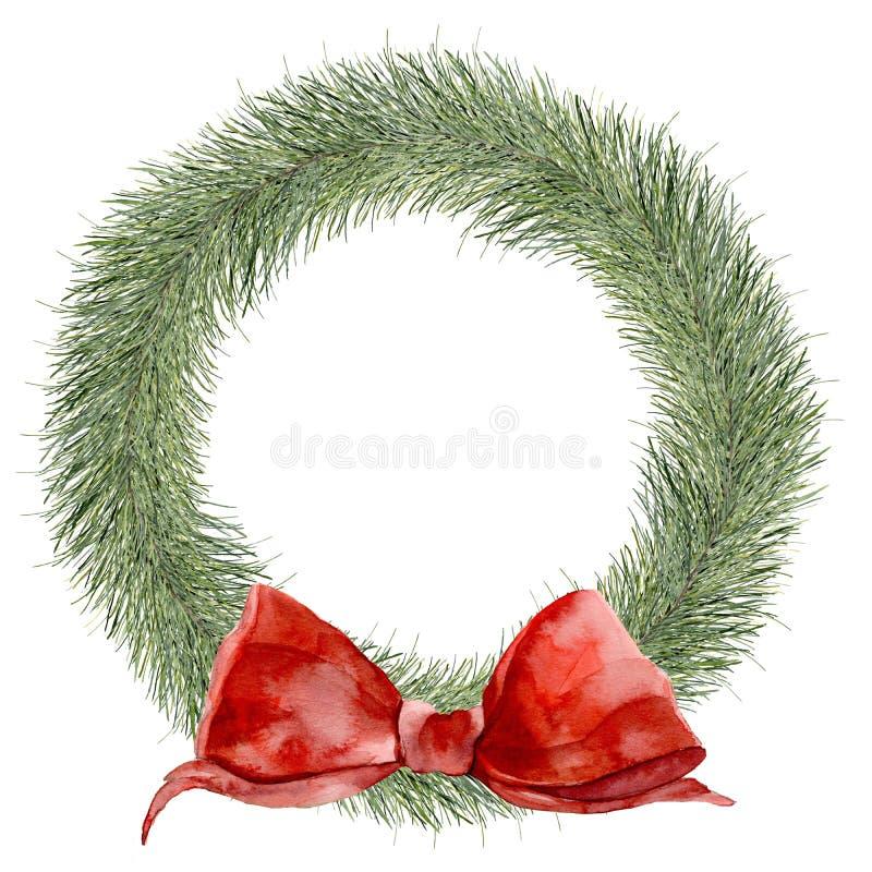 Corona tradizionale di Natale dell'acquerello Confine dipinto a mano con i rami dell'abete e l'arco rosso isolati su fondo bianco illustrazione vettoriale