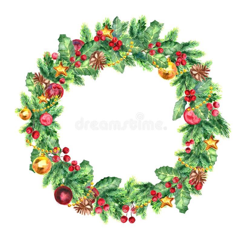 Corona tradizionale di Natale isolata su fondo bianco Decorazione festiva illustrazione di stock